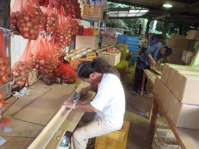 先日の流し素麺用竹の加工風景